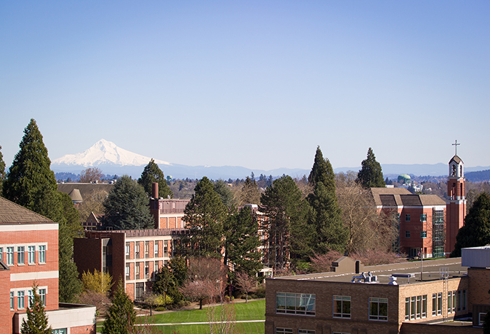 University of Portland with Mt. Hood in the background